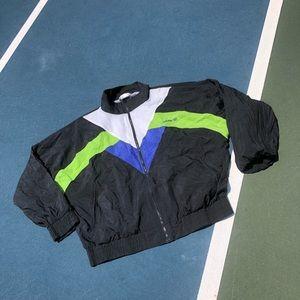 Adidas Black Blue Lime Green Windbreaker Jacket!
